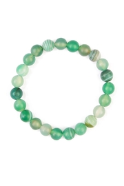Riah Fashion Green Stone Beaded Bracelet - Front cropped
