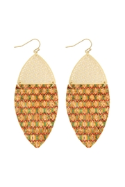 Riah Fashion Half Filigree With Fringed Cork Drop Earrings - Product Mini Image
