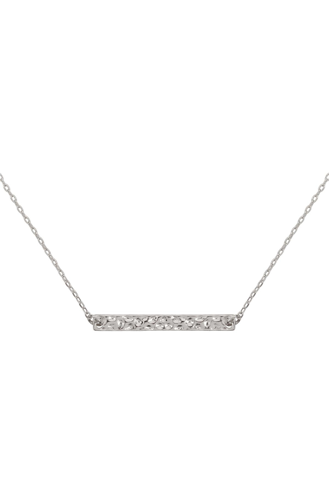 Riah Fashion Hammered-Brass-Bar-Necklace - Front Cropped Image