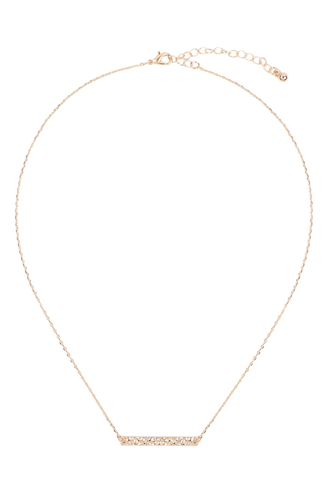 Riah Fashion Hammered-Brass-Bar-Necklace - Front Full Image
