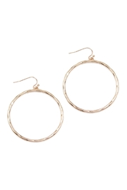 Riah Fashion Hammered Cast Hoop Earrings - Product Mini Image