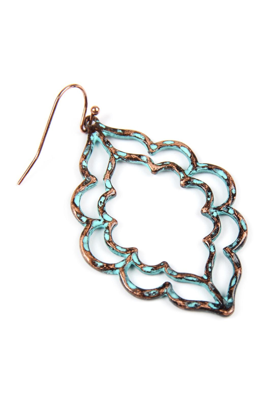 Riah Fashion Hammered Casting Earrings - Front Full Image