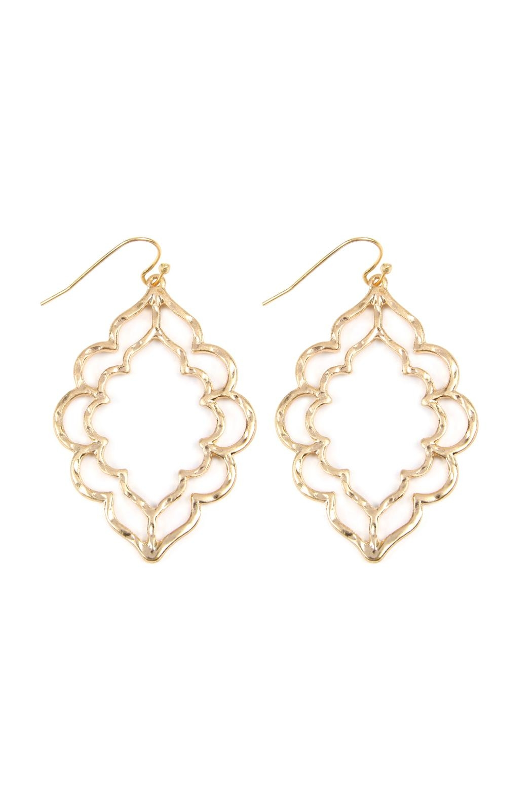 Riah Fashion Hammered Casting Earrings - Front Cropped Image