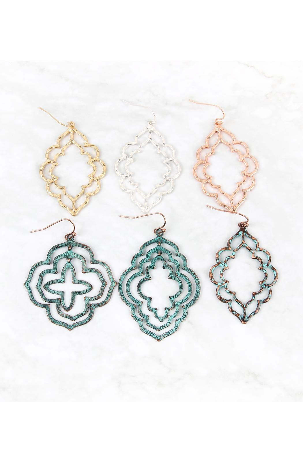 Riah Fashion Hammered Casting Earrings - Back Cropped Image