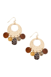 Riah Fashion Hammered-Metal With-Dangle Acetate-Earrings - Product Mini Image