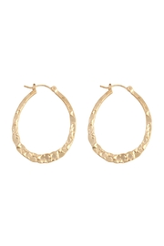 Riah Fashion Hammered-Oval-Latch-Hoop-Earrings - Product Mini Image