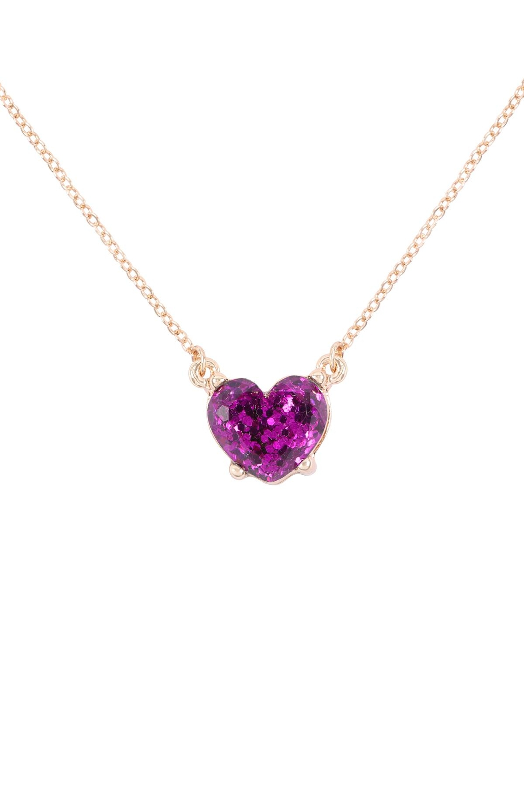 Riah Fashion Heart Glitter Epoxy Necklace - Front Cropped Image
