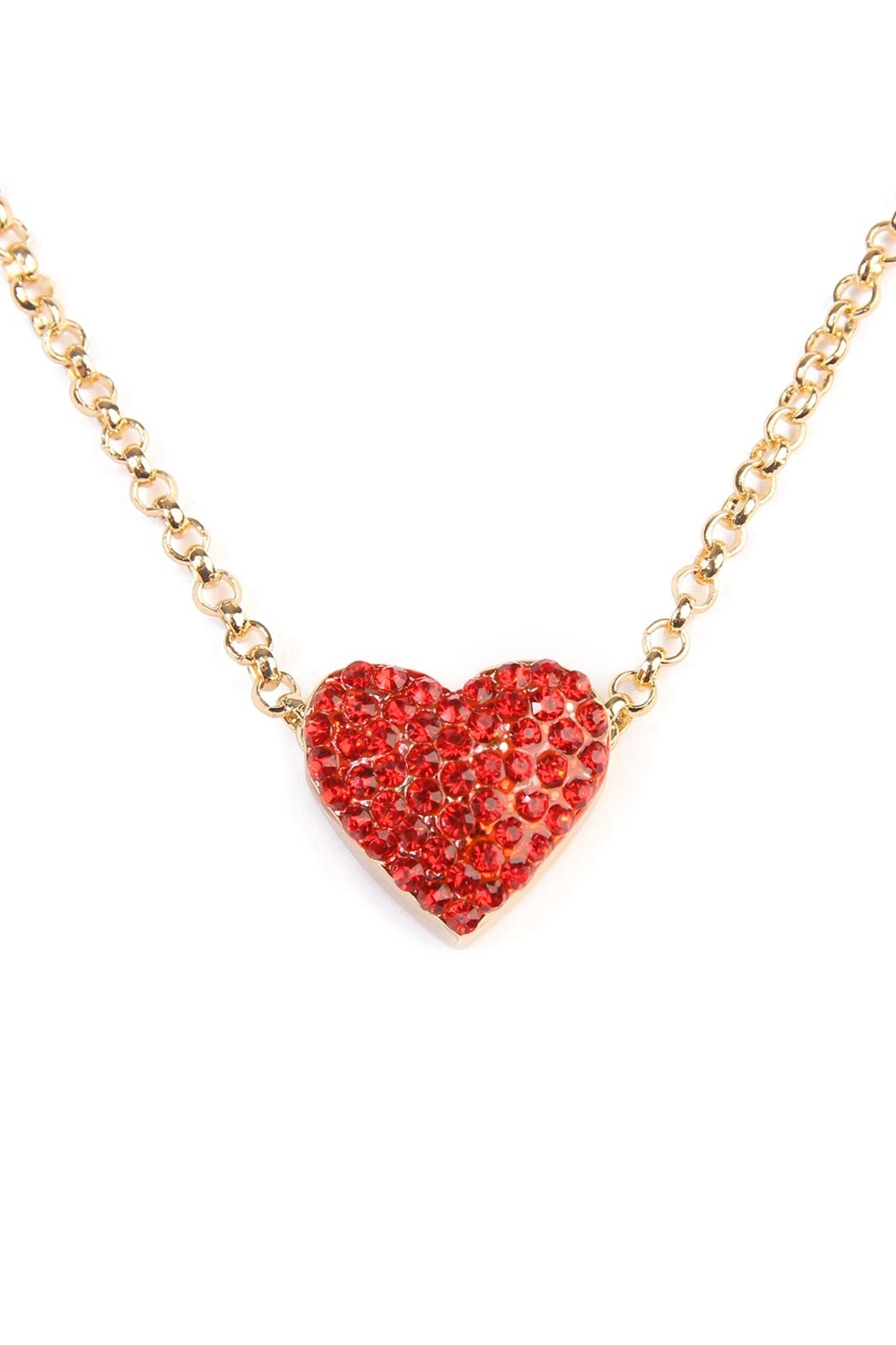 Riah Fashion Heart Pendant Layered Choker - Front Full Image