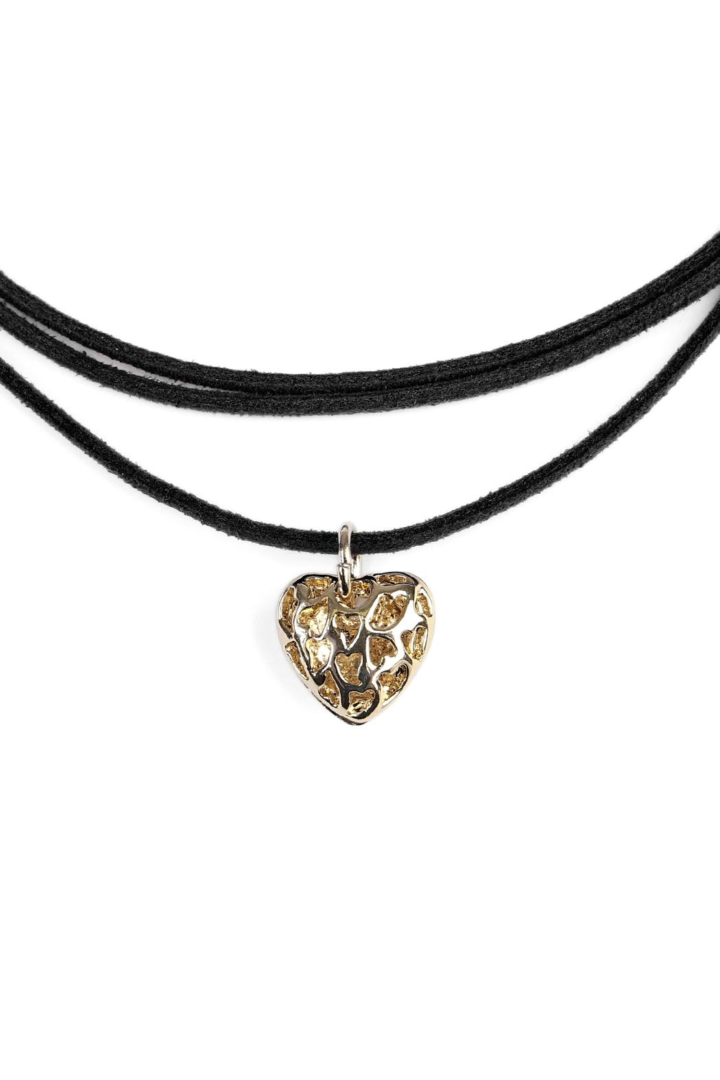 Riah Fashion Heart Pendant Suede Choker - Front Full Image