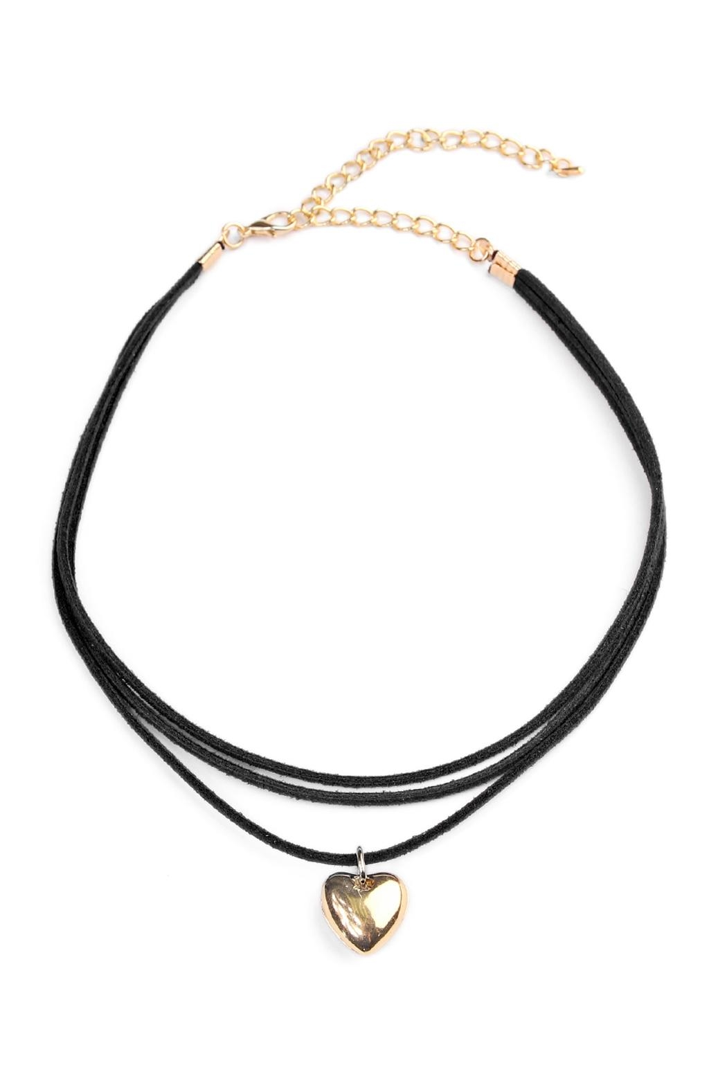 Riah Fashion Heart Pendant Suede Choker - Front Cropped Image