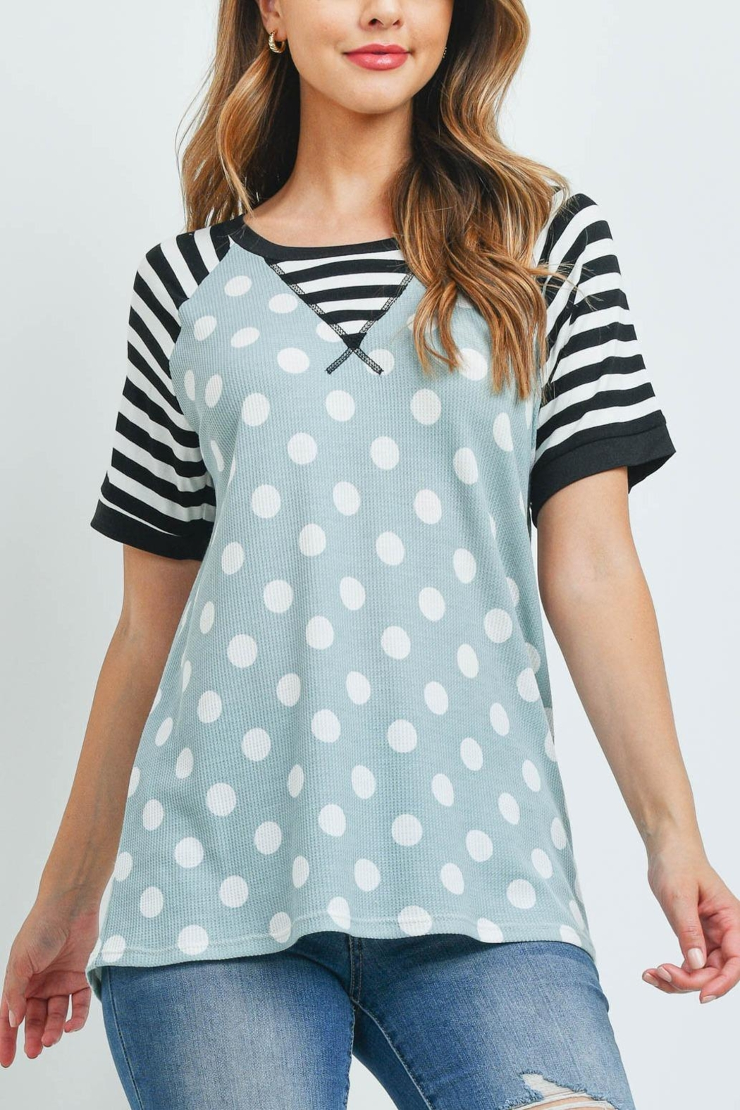 Riah Fashion Hermal-Polka-Dot-Stripes-Neck-And-Sleeve-Top - Front Cropped Image