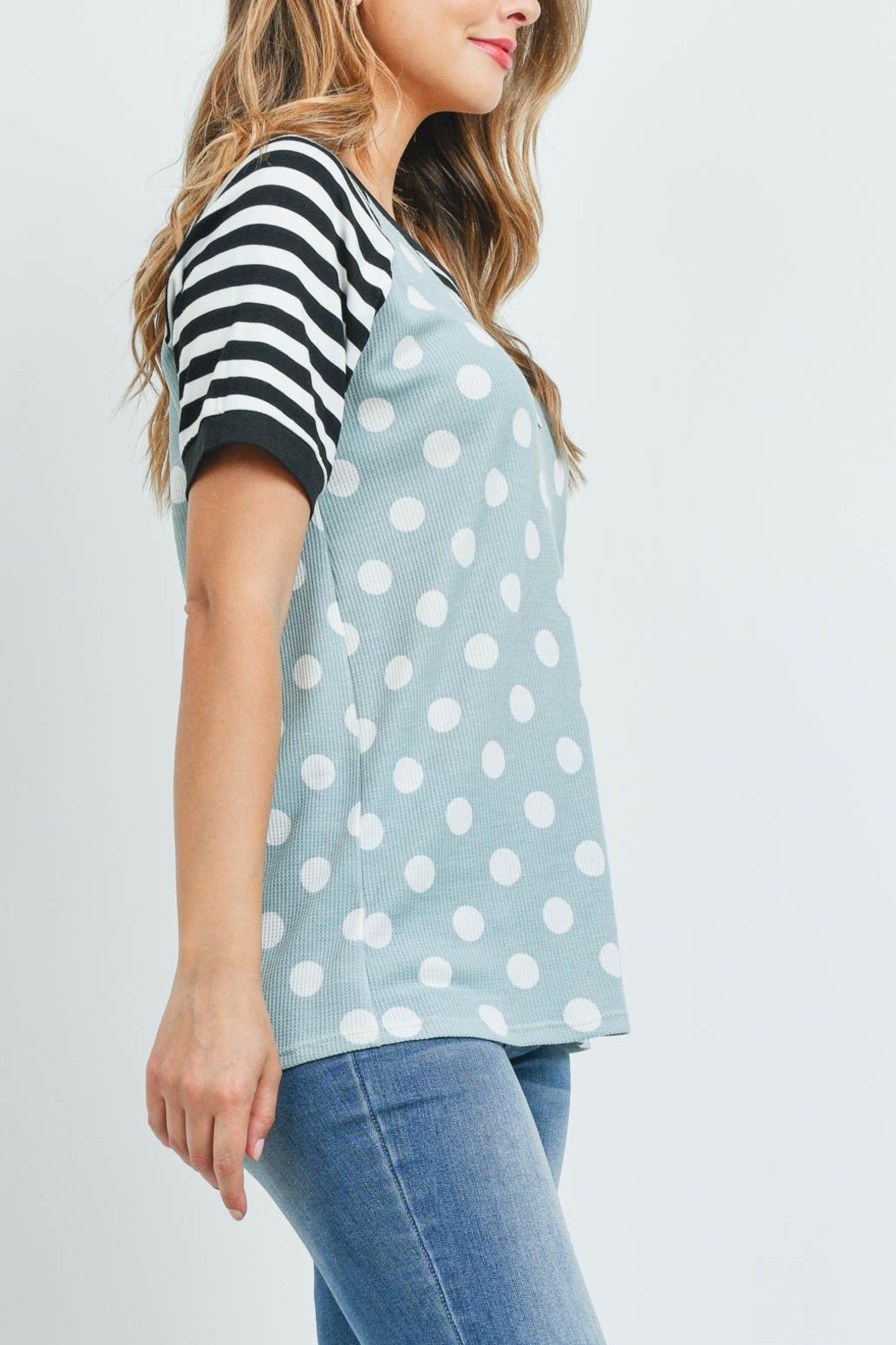 Riah Fashion Hermal-Polka-Dot-Stripes-Neck-And-Sleeve-Top - Side Cropped Image