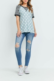Riah Fashion Hermal-Polka-Dot-Stripes-Neck-And-Sleeve-Top - Other
