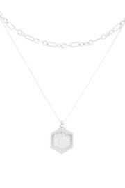 Riah Fashion Hexagon-Engraved-Layered-Brass-Necklace - Product Mini Image