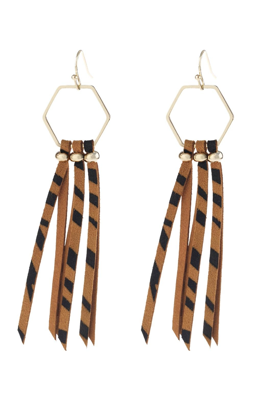 Riah Fashion Hezagon-Leather-Tassel-Drop-Earrings - Front Cropped Image