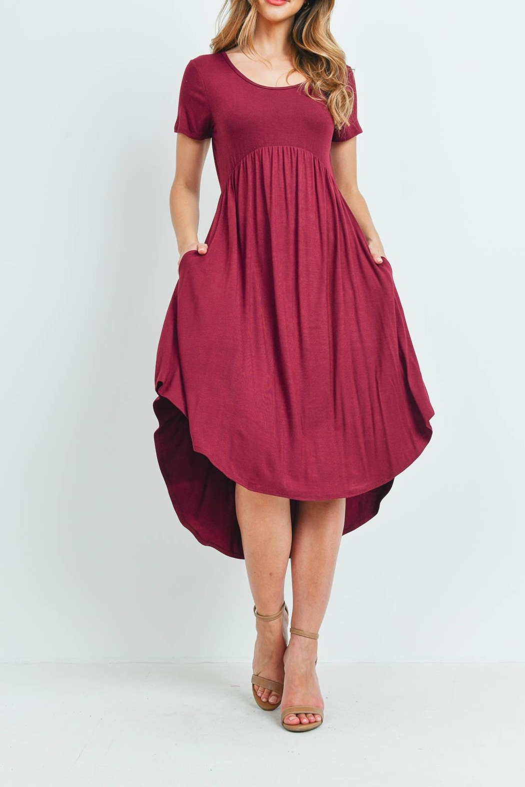 Riah Fashion High-Low-Empire-Pocket-Dress - Front Cropped Image