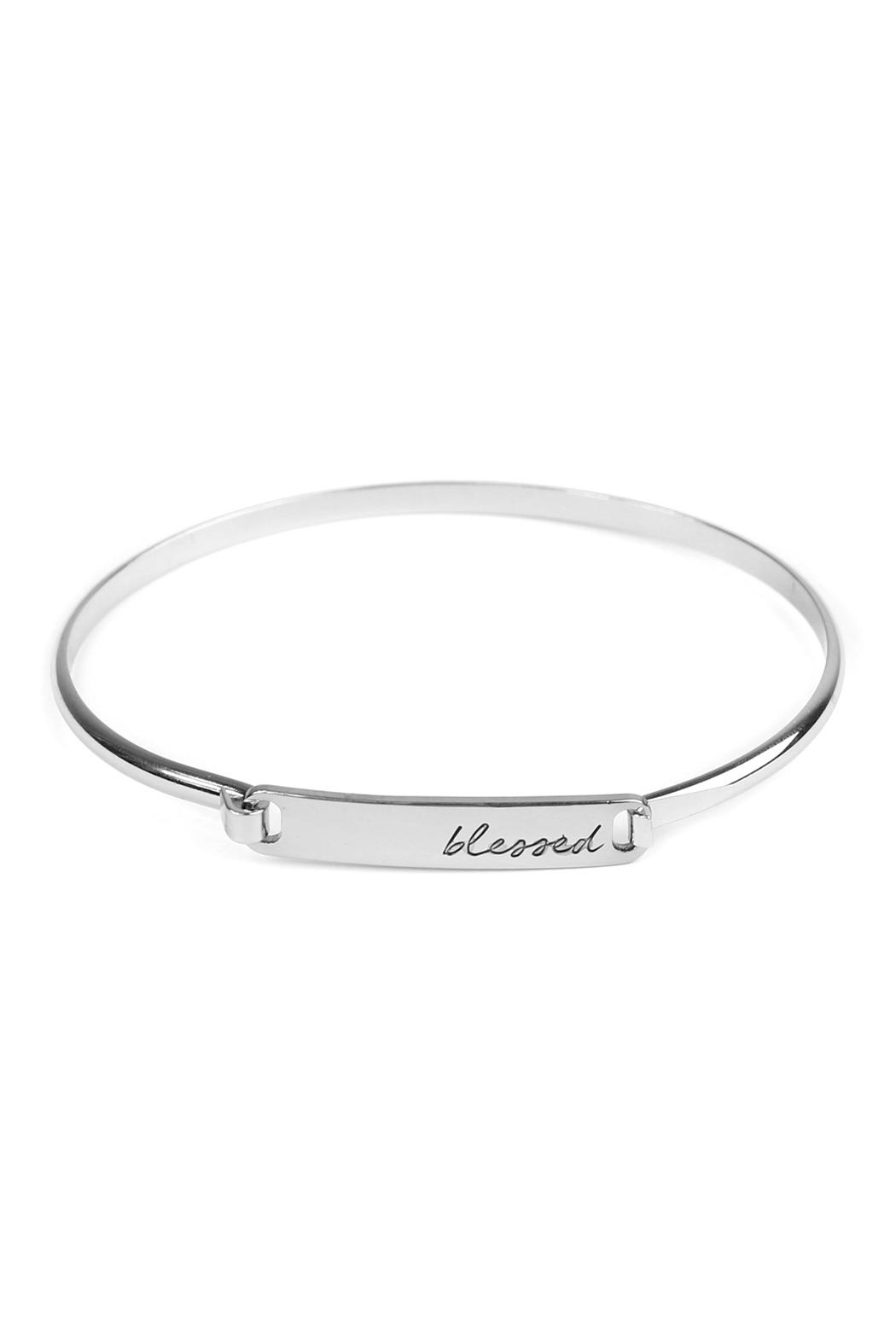 Riah Fashion Hinge Plate-Blessed-Bracelet - Front Cropped Image