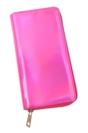 Riah Fashion Holographic Single Zipper Wallet - Side cropped