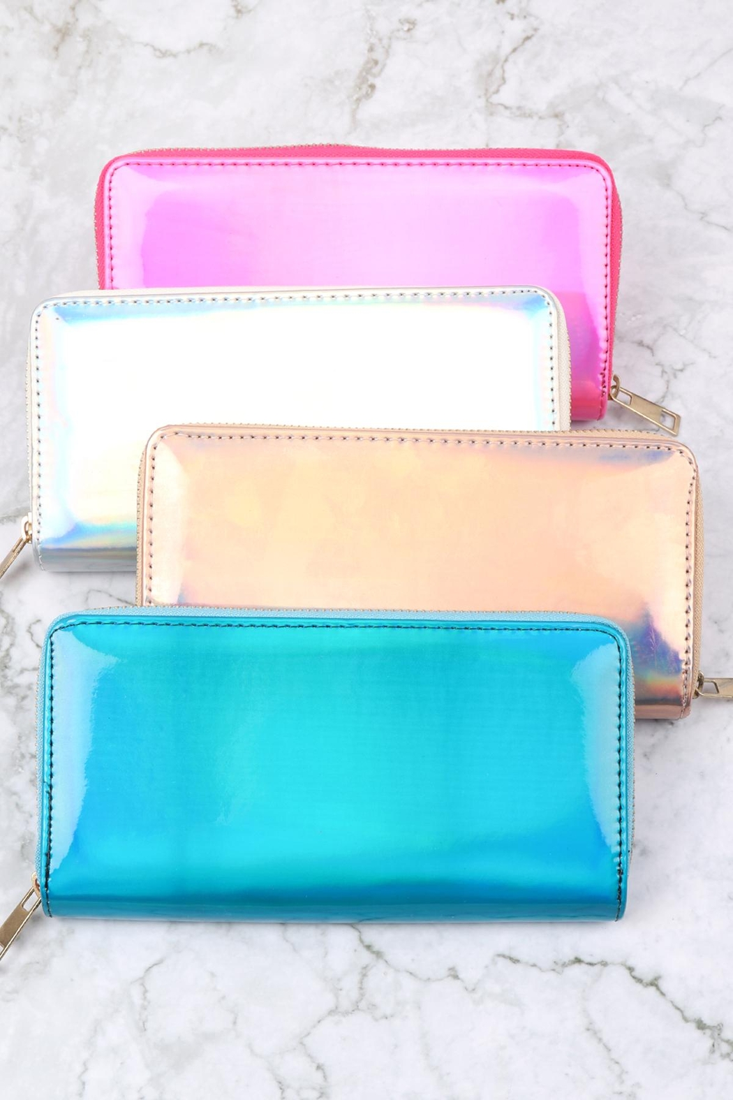 Riah Fashion Holographic Single Zipper Wallet - Front Full Image