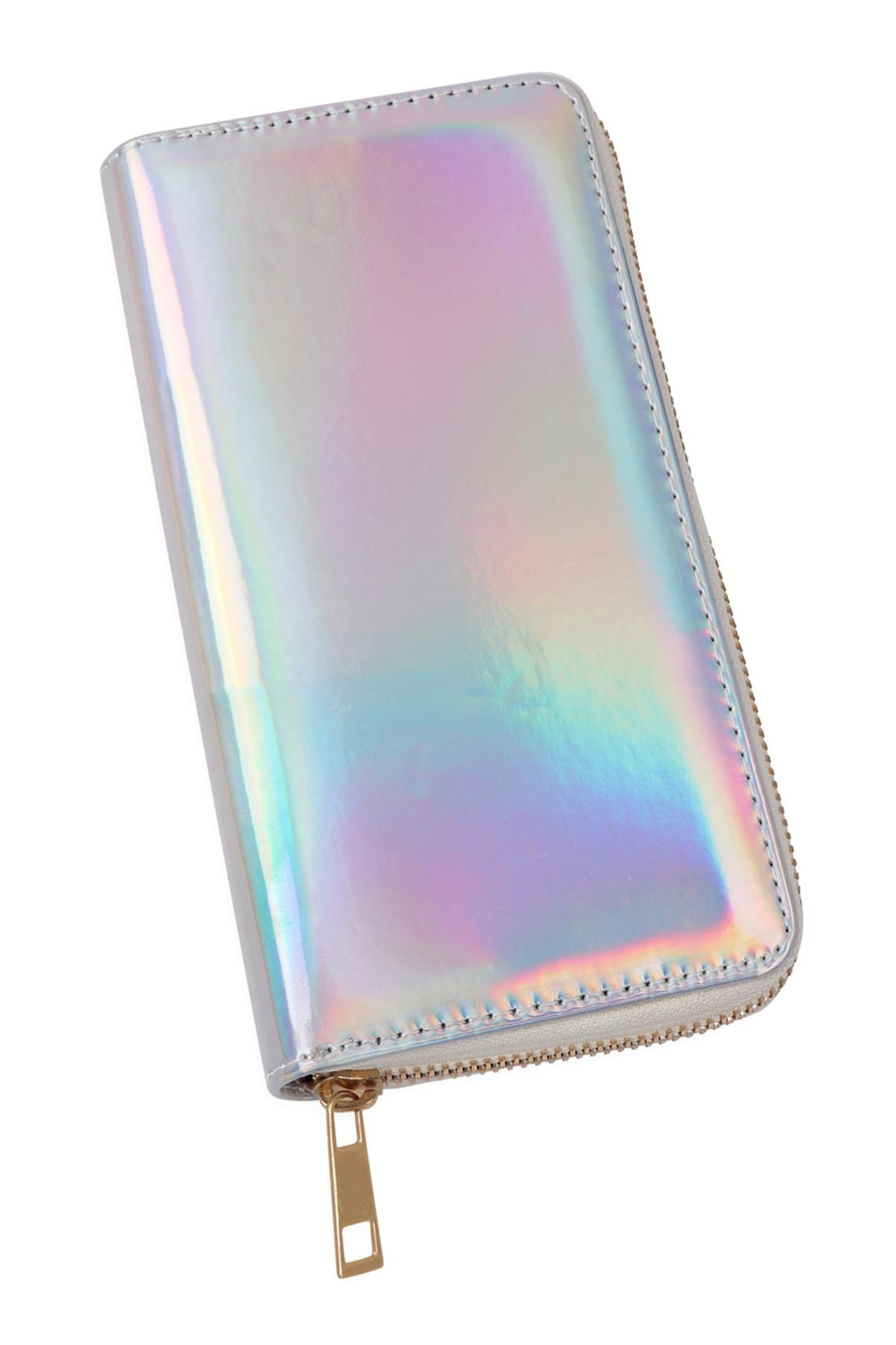 Riah Fashion Holographic Single Zipper Wallet - Side Cropped Image