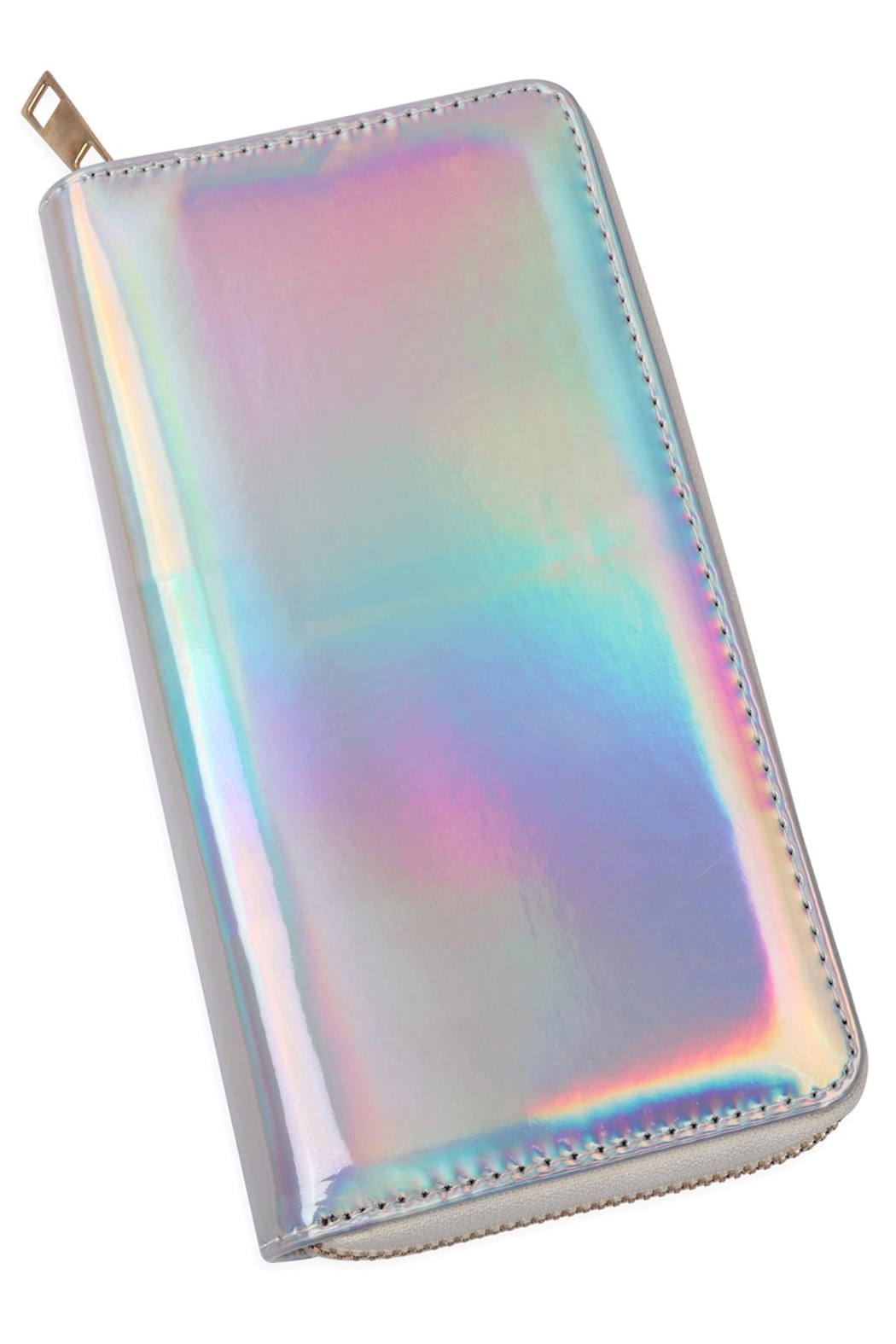 Riah Fashion Holographic Single Zipper Wallet - Front Cropped Image