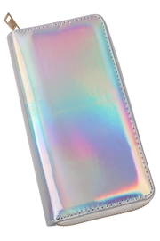 Riah Fashion Holographic Single Zipper Wallet - Front cropped