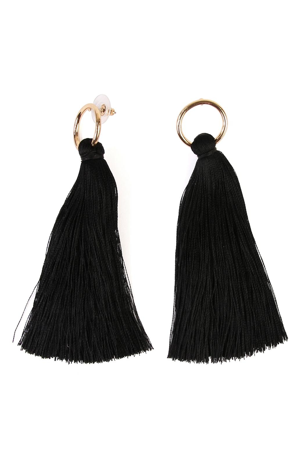 Riah Fashion Hoop Tassel Earrings - Main Image