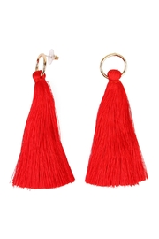 Riah Fashion Hoop Tassel Earrings - Front cropped