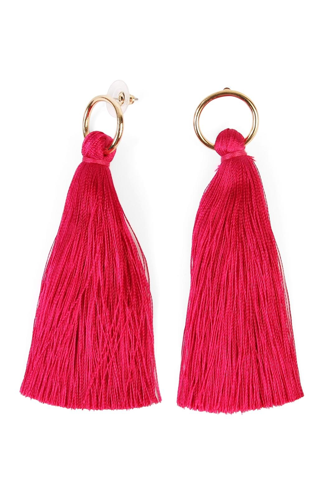 Riah Fashion Hoop Tassel Earrings - Front Cropped Image