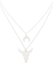 Riah Fashion Horn-Layered-Pendant-Mi- Chain-Necklace - Front full body