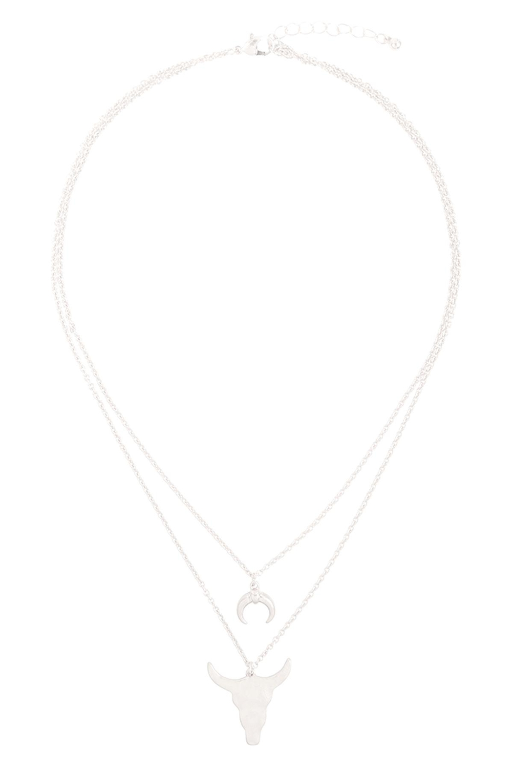 Riah Fashion Horn-Layered-Pendant-Mi- Chain-Necklace - Front Cropped Image