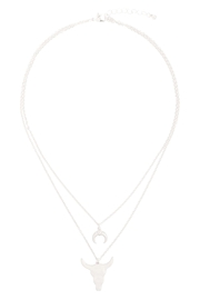 Riah Fashion Horn-Layered-Pendant-Mi- Chain-Necklace - Front cropped