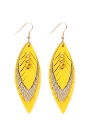 Riah Fashion Hree Layer Fringed Leather-Marquise-Earrings - Product Mini Image