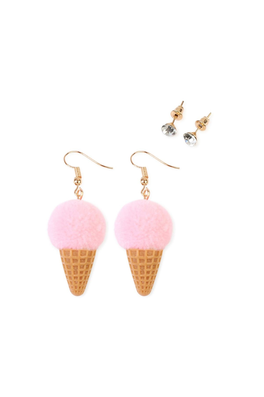 Riah Fashion Ice-Cream Cone Earring-Set - Front Cropped Image