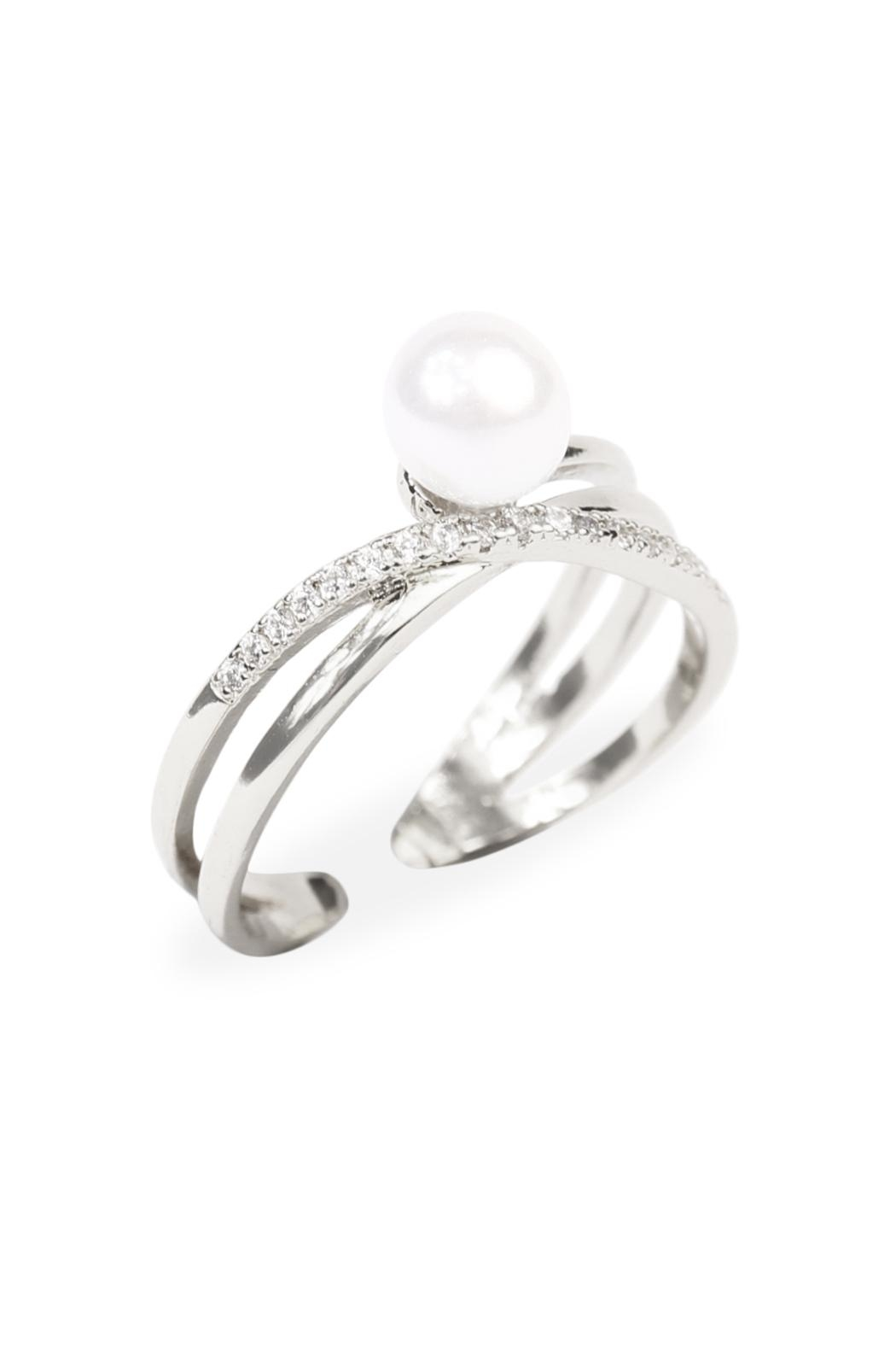 Riah Fashion Infinfty Pearl Ring - Front Full Image