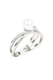 Riah Fashion Infinfty Pearl Ring - Front full body