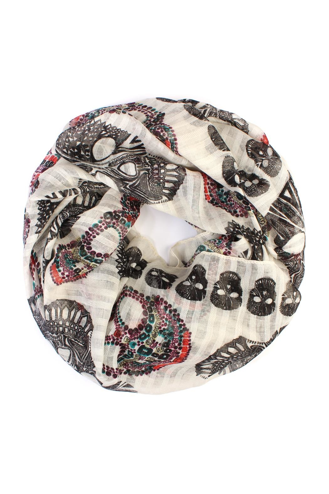 Riah Fashion Infinity Sugar-Skull Scarf - Front Cropped Image