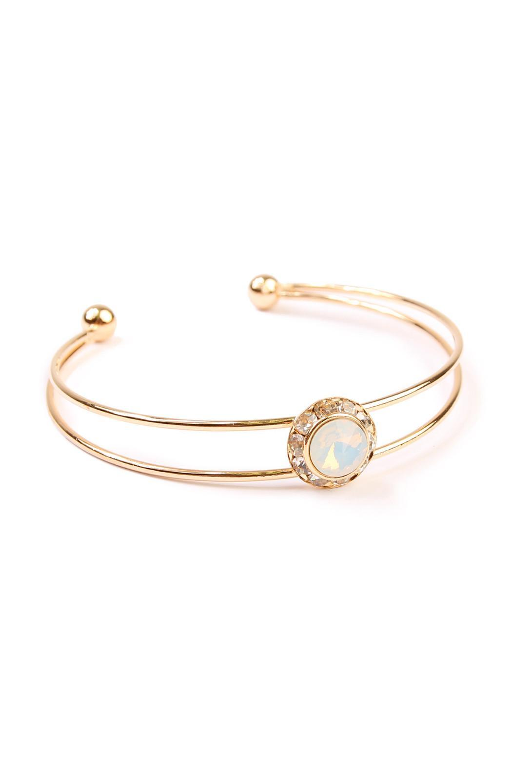 Riah Fashion Iridescent Cuff Bracelet - Front Cropped Image