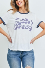 Riah Fashion Ivory-Be-Groovy-Print-Top - Product Mini Image