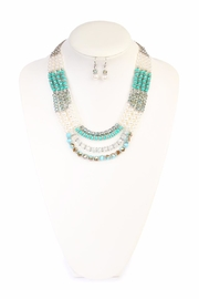 Riah Fashion Jade Necklace Set - Front full body
