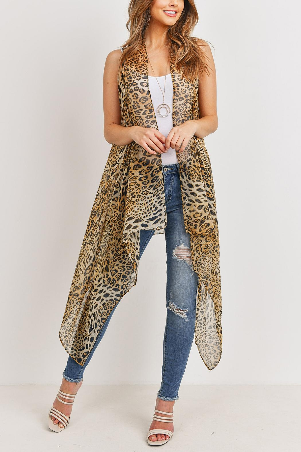 Riah Fashion Knee Length Printed Leopard - Side Cropped Image