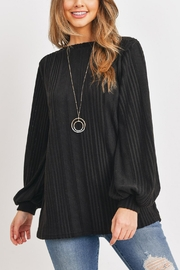 Riah Fashion Knit-Long-Sleeves-Boat-Neck-Solid-Sweater - Product Mini Image