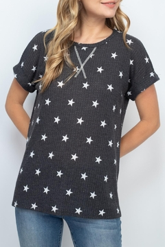 Riah Fashion Knit-Rolled-Sleeve-Star-Print-Top - Product List Image