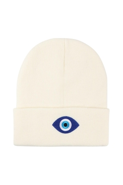 Shoptiques Product: Knitted-Beanie-Wtih-Evil-Eye