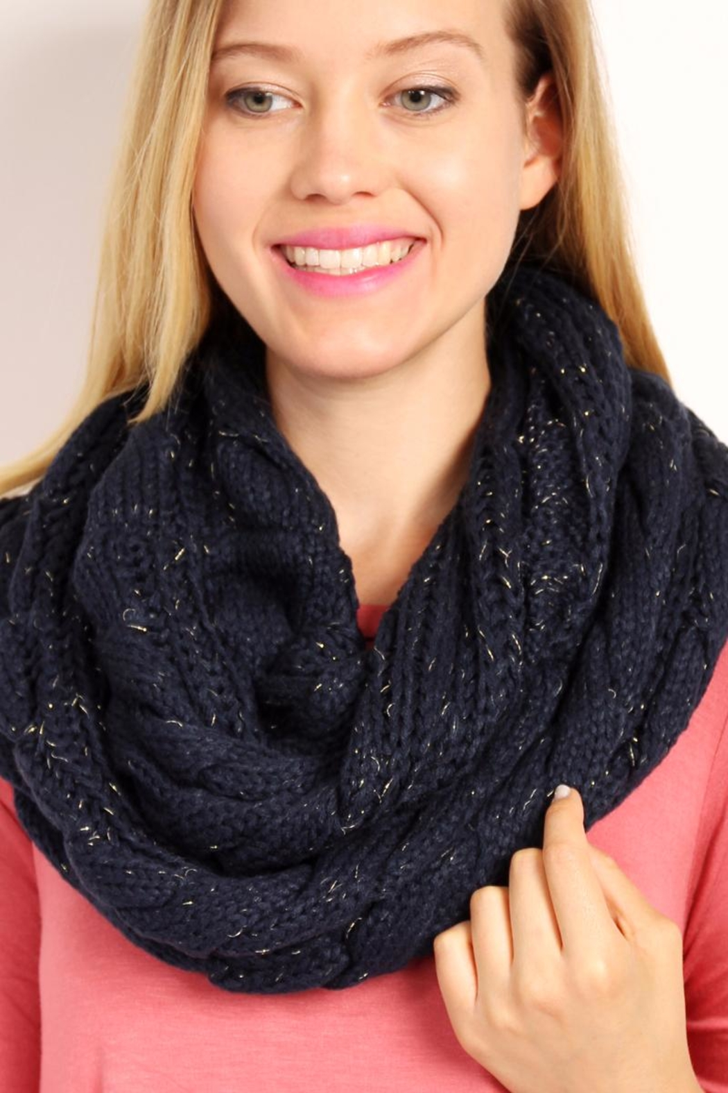Riah Fashion Knitted Braid Scarf - Front Full Image