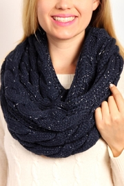 Riah Fashion Knitted Braid Scarf - Front full body