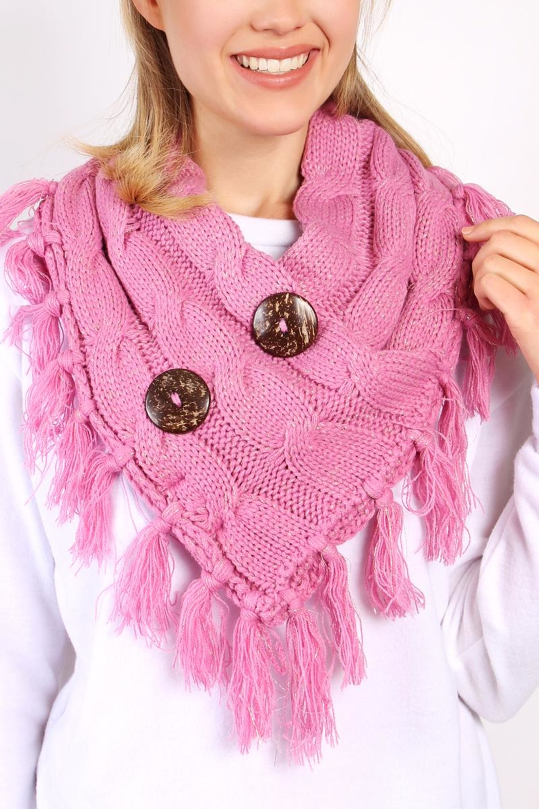 Riah Fashion Knitted Braided Tassel Scarf - Front Full Image