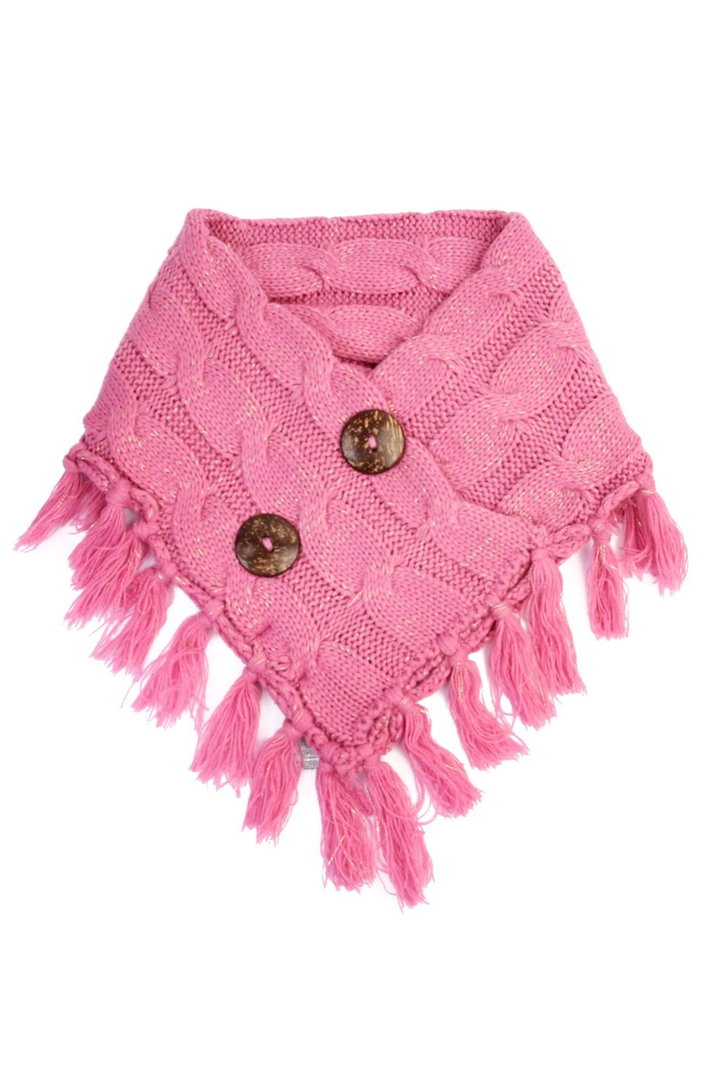 Riah Fashion Knitted Braided Tassel Scarf - Main Image