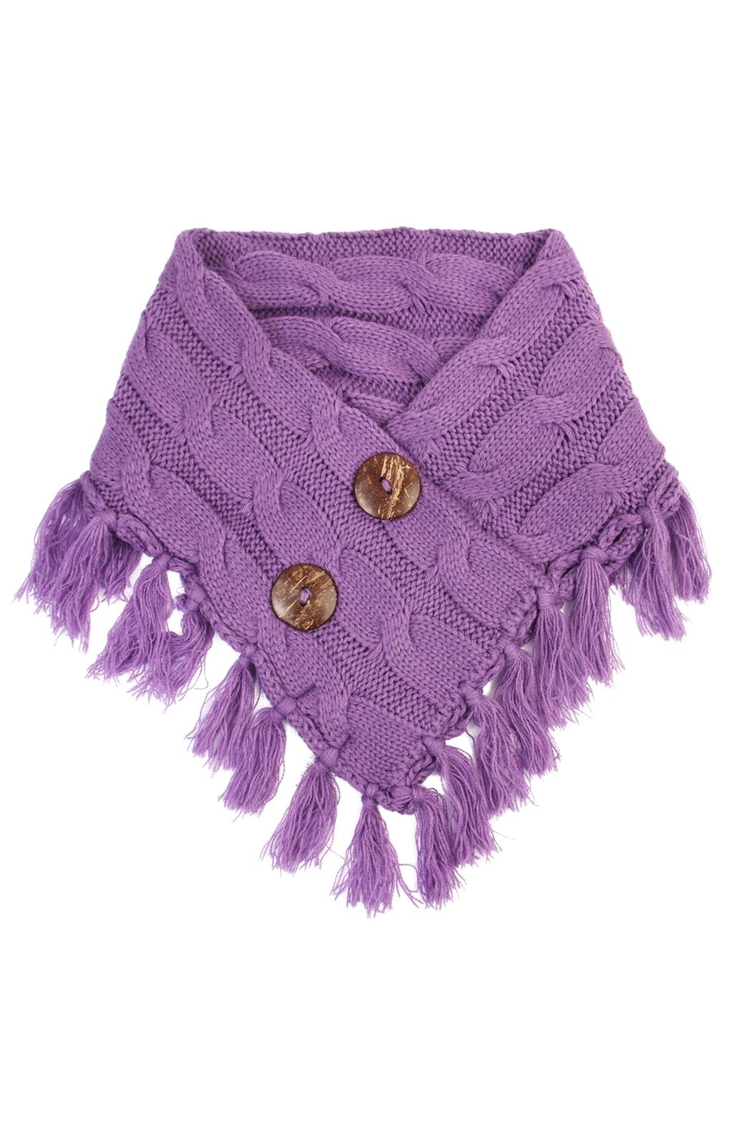 Riah Fashion Knitted Braided Tassel Scarf - Front Cropped Image