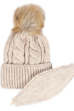 Riah Fashion Knitted-Pom-Beanie-With-Matching-Mask - Alternate List Image